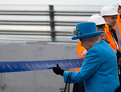 HRH Queen Elizabeth cuts the ribbon to officially open  the  Queensferry Crossing Bridge on 4 September 2017.