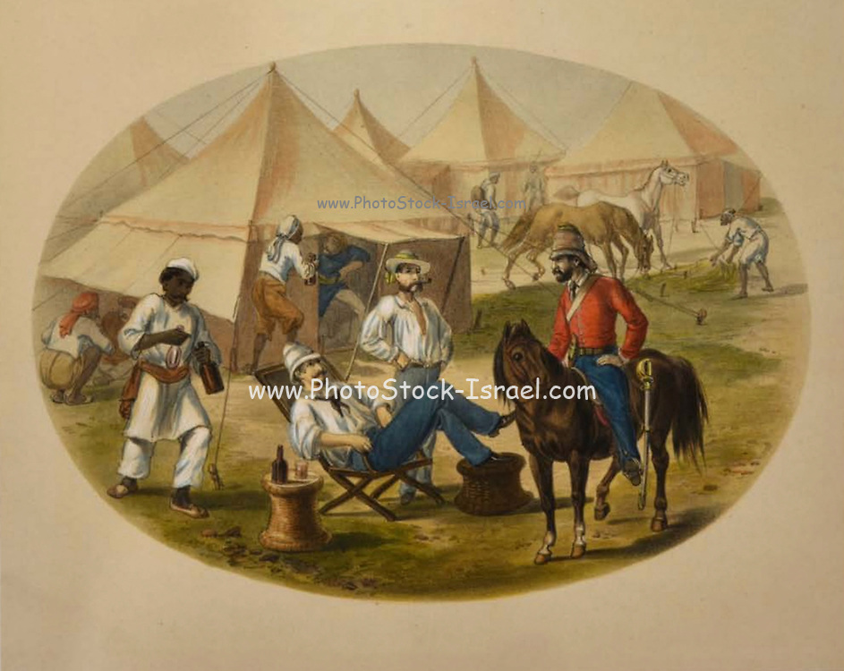 A scene in an army camp Lithograph from the book Campaign in India 1857-58 Illustrating the military operations before Delhi ; 26 Hand coloured Lithographed plates. by George Francklin Atkinson Published by Day & Son Lithographers to the Queen in 1859