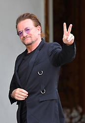 U2 lead singer and co-founder of the organisation ONE Bono arrives at the Elysee Palace in Paris, France, on July 24, 2017. Bono will be meeting the French president in a bid to champion his organisation One which battles against extreme poverty and illness, particularly in Africa. Photo by Christian Liewig/ABACAPRESS.COM