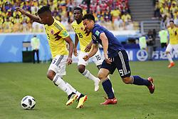 Colombia's Wilmar Barrios battles Japan's Shinji Okazaki during the 2018 FIFA World Cup Russia game, Colombia vs Japan in Saransk Stadium, Saransk, Russia on June 19, 2018. Japan won 2-1. Photo by Henri Szwarc/ABACAPRESS.COM