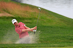 June 24, 2018 - Cromwell, CT, U.S. - CROMWELL, CT - JUNE 24: Daniel Berger of the United States hits from the green side bunker on 16 during the Final Round of the Travelers Championship on June 24, 2018 at TPC River Highlands in Cromwell, Connecticut. (Photo by Fred Kfoury III/Icon Sportswire) (Credit Image: © Fred Kfoury Iii/Icon SMI via ZUMA Press)