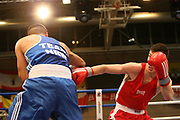 Boxen: Elite, Deutsche Meisterschaften, Viertelfinale, Lübeck, 07.12.2017<br /> Halbweltergewicht 64 Kg: Edison Zani (Hamburg) - Mohammet Barut (NRW)<br /> © Torsten Helmke