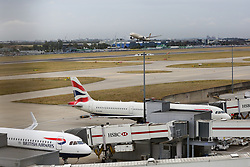 © Licensed to London News Pictures. 09/09/2019. London, UK. British Airways planes grounded at Heathrow Terminal 5 on the first day of the two days first-ever strike staged by British Airways pilots dispute over pay. Photo credit: Dinendra Haria/LNP