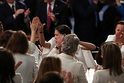 United States Representative Alexandria Ocasio-Cortez (Democrat of New York) with colleagues as United States President Donald J. Trump delivers his second annual State of the Union Address to a joint session of the US Congress in the US Capitol in Washington, DC, USA on Tuesday, February 5, 2019. Photo by Alex Edelman/CNP/ABACAPRESS.COM