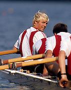 Bled, Slovenia, YUGOSLAVIA.  DEN LM4X,  ç.1989 World Rowing Championships, Lake Bled. [Mandatory Credit. Peter Spurrier/Intersport Images]