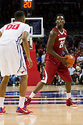 DALLAS, TX - NOVEMBER 25: Jacorey Williams #22 of the Arkansas Razorbacks brings the ball up court against the SMU Mustangs on November 25, 2014 at Moody Coliseum in Dallas, Texas.  (Photo by Cooper Neill/Getty Images) *** Local Caption *** Jacorey Williams