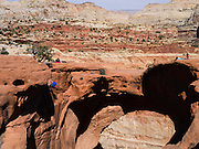 Climber and spectators. Scene from Cassidy Arch, Capitol Reef National Park, Utah.