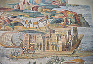 Detail picture of an Egyptian palace surrounded by the flooded Nile  from the famous Roman Hellenistic Nilotic landscape Roman Palestrina Mosaic or Nile mosaic of Palestrina 1st or 2nd century BC. Museo Archeologico Nazionale di Palestrina Prenestino  (Palestrina Archaeological Museum), Palestrina, Italy. .<br /> <br /> If you prefer to buy from our ALAMY PHOTO LIBRARY  Collection visit : https://www.alamy.com/portfolio/paul-williams-funkystock/roman-mosaic.html - Type -   Palestrina   - into the LOWER SEARCH WITHIN GALLERY box. Refine search by adding background colour, place, museum etc<br /> <br /> Visit our ROMAN MOSAIC PHOTO COLLECTIONS for more photos to download  as wall art prints https://funkystock.photoshelter.com/gallery-collection/Roman-Mosaics-Art-Pictures-Images/C0000LcfNel7FpLI