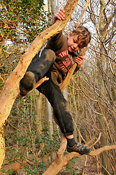 8 yr old boy balancing dangerously over a woodland drop. Berkshire. MR