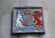 Coat of Arms and Latin motto inscription of Ipswich Boys School, Ipswich, Suffolk, England, UK