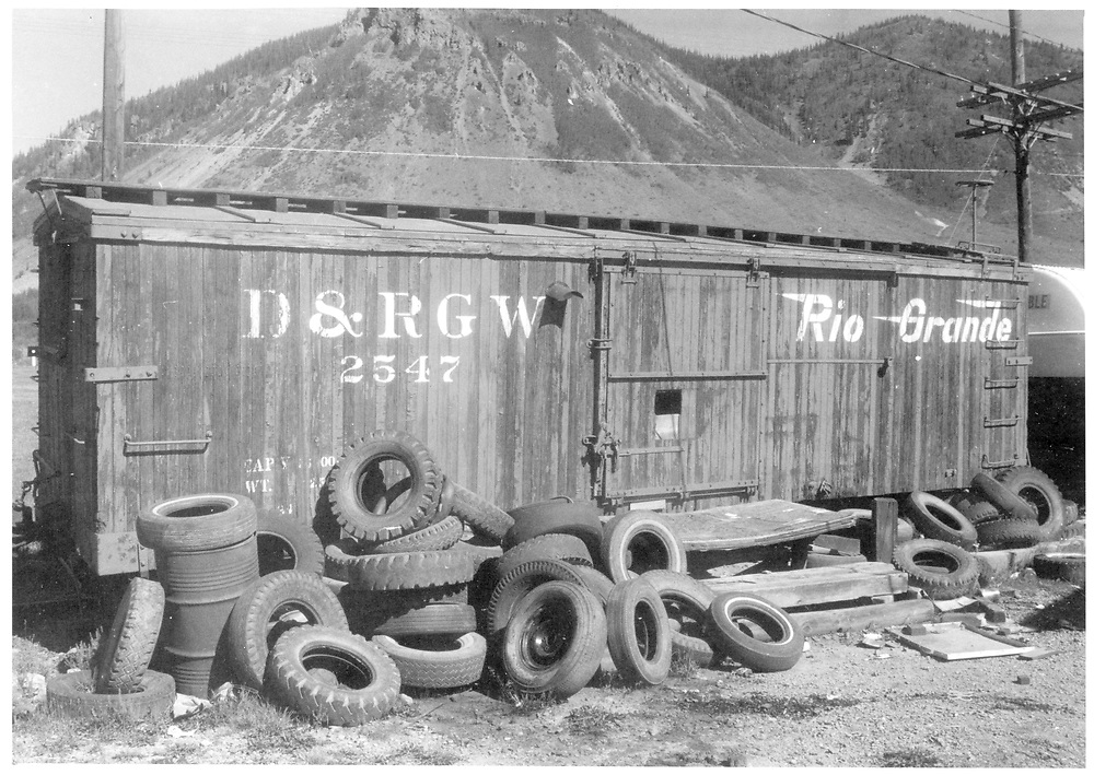 Side view of box car #2547 used as storage facility.<br /> D&RGW