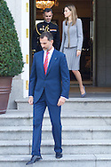 King Felipe VI of Spain and Queen Letizia of Spain posed for photographers during a Chilean President State Visit at Zarzuela Palace on October 29, 2014 in Madrid