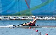 "Rio de Janeiro. BRAZIL   POL M1X. Natan WEGRZYCKI-SZYMCZYK,     2016 Olympic Rowing Regatta. Lagoa Stadium,<br /> Copacabana,  ""Olympic Summer Games""<br /> Rodrigo de Freitas Lagoon, Lagoa. Local Time 10:16:32  Saturday  13/08/2016<br /> [Mandatory Credit; Peter SPURRIER/Intersport Images]"