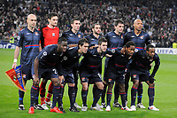 FOOTBALL - UEFA CHAMPIONS LEAGUE 2009/2010 - 1/8 FINAL - 2ND LEG - REAL MADRID v OLYMPIQUE LYONNAIS - 10/03/2010 - PHOTO JEAN MARIE HERVIO / DPPI - TEAM LYON ( BACK ROW LEFT TO RIGHT: CRIS / HUGO LLORIS / ANTHONY REVEILLERE / LISANDRO LOPEZ / JEREMY TOULALAN / JEAN ALAIN BOUMSONG. FRONT ROW: ALY CISSOKHO / CESAR DELGADO / MIRALEM PJANIC / JEAN II MAKOUN / SIDNEY GOVOU )