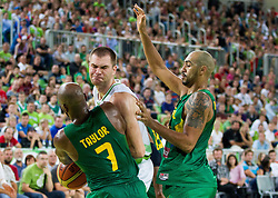 Uros Slokar of Slovenia vs Larry Taylor JR of Brasil during friendly basketball match between National Teams of Slovenia and Brasil at Day 2 of Telemach Tournament on August 22, 2014 in Arena Stozice, Ljubljana, Slovenia. Photo by Vid Ponikvar / Sportida