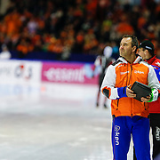 NLD/Heerenveen/20130111 - ISU Europees Kampioenschap Allround schaatsen 2013, 5000 meter heren, coach