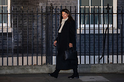 © Licensed to London News Pictures. 07/01/2019. London, UK. Minister of State for Immigration Caroline Nokes arriving in Downing Street to attend a drinks reception in Number 10. British Prime Minister Theresa May is currently trying to persuade MPs to back her Brexit withdrawal deal. MPs will be debating the issue this week, with the postponed vote taking place on Tuesday 15th January. Photo credit : Tom Nicholson/LNP