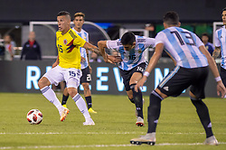 September 11, 2018 - East Rutherford, NJ, U.S. - EAST RUTHERFORD, NJ - SEPTEMBER 11: Colombia midfielder Mateus Uribe (15) dribbles the ball during the second half of the International Friendly Soccer match between Argentina and Colombia on September 11, 2018 at MetLife Stadium in East Rutherford, NJ. (Photo by John Jones/Icon Sportswire) (Credit Image: © John Jones/Icon SMI via ZUMA Press)