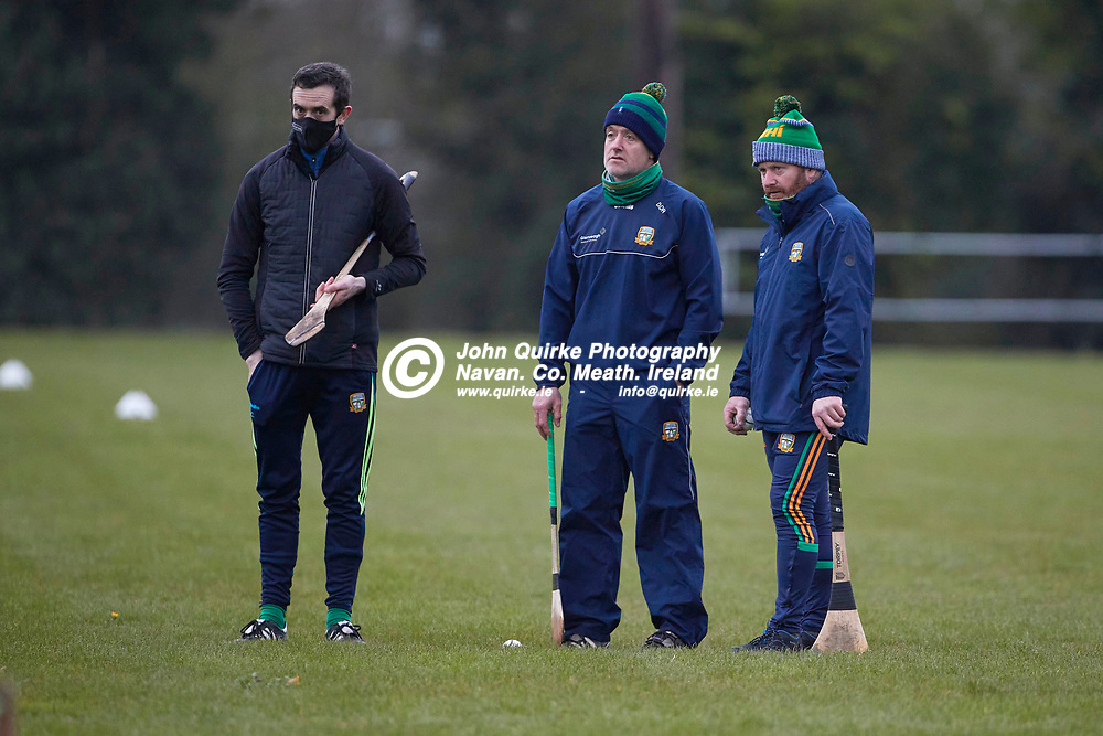 21-04-20, Meath Senior Hurling squad return to training at Dunganny<br /> Meath Hurling selectors - Stephen Clynch and David O`Reilly with Meath Hurling Manager Nick Weir<br /> Photo: David Mullen / www.quirke.ie ©John Quirke Photography, Proudstown Road Navan. Co. Meath. 046-9079044 / 087-2579454.<br /> ISO: 4000; Shutter: 1/400; Aperture: 4;