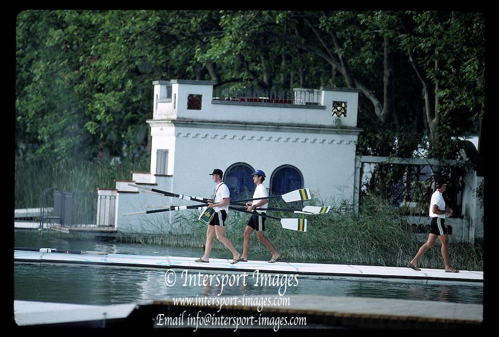 Barcelona Olympics 1992 - Lake Banyoles, SPAIN,  GV's,  Crews boating, Spanish/Moorish House round the lake,  Photo: Peter Spurrier.       {Mandatory Credit: © Peter Spurrier/Intersport Images]..       {Mandatory Credit: © Peter Spurrier/Intersport Images].