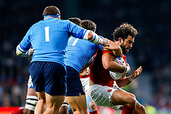 France Winger Yoann Huget is tackled by Italy Winger Giovanbattista Venditti - Mandatory byline: Rogan Thomson/JMP - 07966 386802 - 19/09/2015 - RUGBY UNION - Twickenham Stadium - London, England - France v Italy - Rugby World Cup 2015 Pool D.