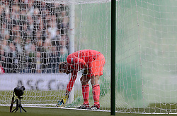 Heart of Midlothian's Zdenek Zlamal removes a flare from the goal during play against Celtic in the Betfred Cup semi final match at BT Murrayfield Stadium, Edinburgh. PRESS ASSOCIATION Photo. Picture date: Sunday October 28, 2018. See PA story SOCCER Hearts. Photo credit should read: Graham Stuart/PA Wire. EDITORIAL USE ONLY