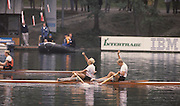 Bled, Slovenia, YUGOSLAVIA.  NOR M2X Gold Medalist, Bow Rolf THORSEN and Lars BJOENNESS, 1989 World Rowing Championships, Lake Bled. [Mandatory Credit. Peter Spurrier/Intersport Images]