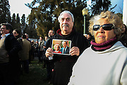 January 6, 2017. Lisbon - Portugal.<br /> People with a photograph of Mario Soares e Maria Barroso.<br /> Funeral ceremony of Mario Soares. Ex-president of the republic of Portugal.