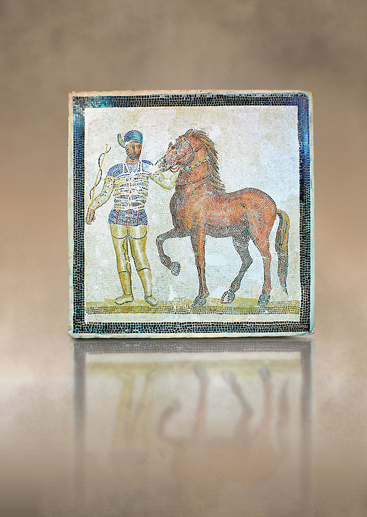 Roman geometric floor mosaic depicting Blue Faction Charioteer and his horse from the Circus  from  a room of a villa  in the locality Baccano near the Via Cassia, Rome. Beginning of the 3rd century AD. National Roman Museum, Rome, Italy .<br /> <br /> If you prefer to buy from our ALAMY PHOTO LIBRARY  Collection visit : https://www.alamy.com/portfolio/paul-williams-funkystock/national-roman-museum-rome-mosaic.html <br /> <br /> Visit our ROMAN ART & HISTORIC SITES PHOTO COLLECTIONS for more photos to download or buy as wall art prints https://funkystock.photoshelter.com/gallery-collection/The-Romans-Art-Artefacts-Antiquities-Historic-Sites-Pictures-Images/C0000r2uLJJo9_s0