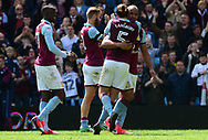 Henri Lansbury (5) and Gabriel Agbonlahor ®  of Aston Villa celebrate after their teams victory.  EFL Skybet championship match, Aston Villa v Birmingham city at Villa Park in Birmingham, The Midlands on Sunday 23rd April 2017.<br /> pic by Bradley Collyer, Andrew Orchard sports photography.