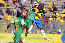 11/08/2018. Knox Mutizwa of Lamontville Golden Arrows fights for the ball with Hlompho Kekana of Mamelodi Sundowns during their MTN8 quater finals at Lucas Moripe Stadium.<br /> Picture: Oupa Mokoena/African News Agency (ANA)