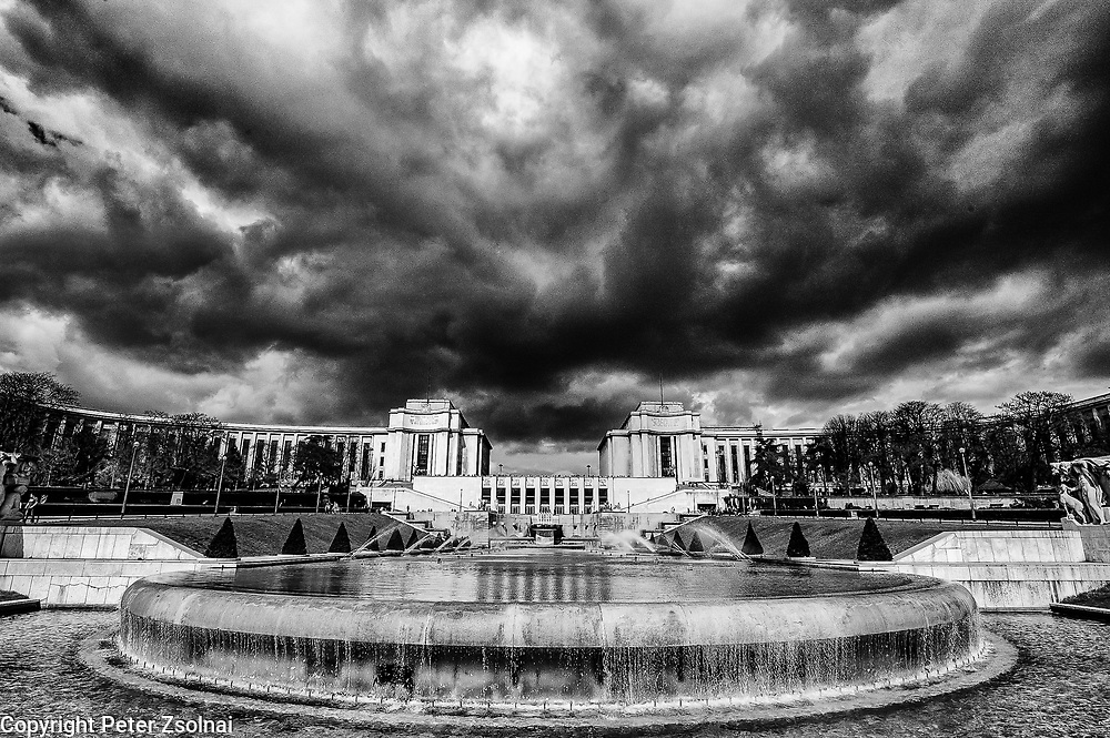 Clouds above the Trocadero Gardens in Paris, France.