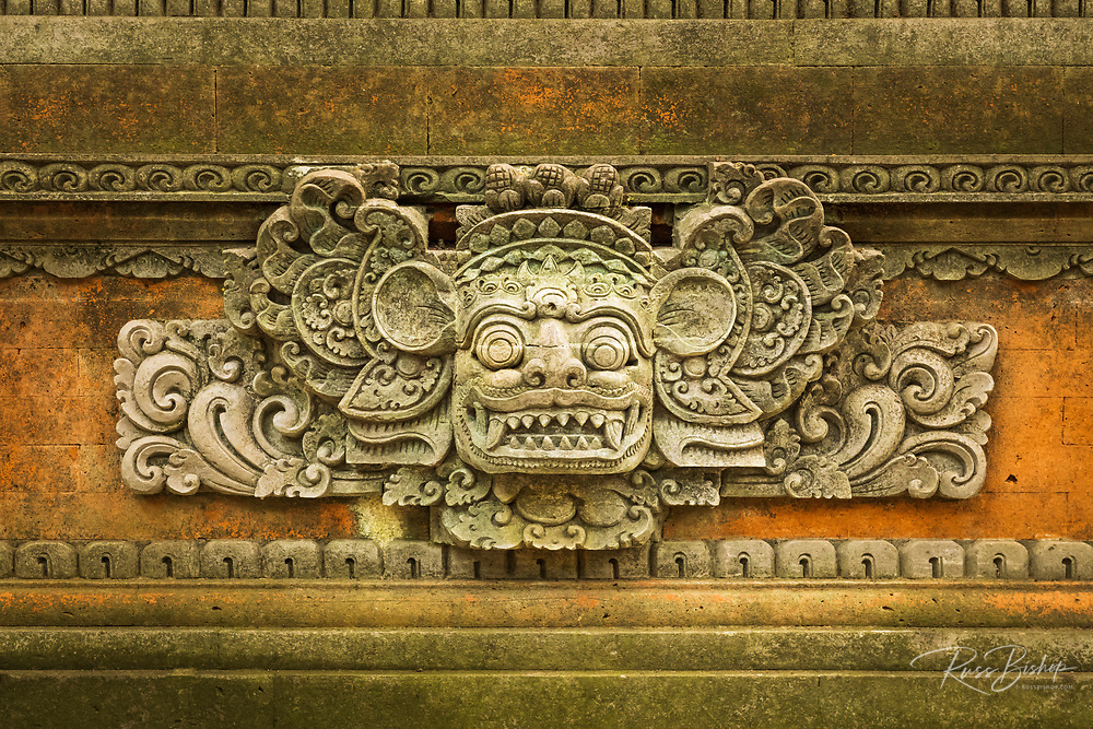 Mask detail at Pura Dalem Agung Padangtegal (Hindu temple of Death), Sacred Monkey Forest Sanctuary, Ubud, Bali, Indonesia