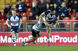 Bristol Rugby openside flanker Jack Lam is tackled by Nottingham's centre Javiah Pohe - Photo mandatory by-line: Paul Knight/JMP - Mobile: 07966 386802 - 06/03/2015 - SPORT - Rugby - Bristol - Ashton Gate Stadium - Bristol Rugby v Nottingham - Greene King IPA Championship