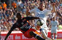 FOOTBALL - FRENCH CHAMPIONSHIP 2010/2011 - L1 - MONTPELLIER HSC v SM CAEN - 22/08/2010 - PHOTO SYLVAIN THOMAS / DPPI - THOMAS HEURTAUX (CAEN) / SOULEYMANE CAMARA (MON)