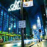 Broad Street Philadelphia at night after the rain