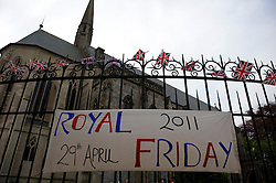 LOCATION, UK  29/04/2011. The Royal Wedding of HRH Prince William to Kate Middleton. ..The Chapel at Marlborough College in WIltshire. The college hosted an event to celebrate the Royal Wedding. Kate Middleton is a former student at the college....Photo credit should read Ian Forsyth/LNP. Please see special instructions. © under license to London News Pictures