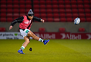 Newcastle Falcons Joel Matavesi kicks during the warm up before a Gallagher Premiership Round 12 Rugby Union match, Friday, Mar 05, 2021, in Eccles, United Kingdom. (Steve Flynn/Image of Sport)