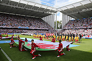 The teams line up for the national anthems ahead of the match. UEFA Euro 2016, group B , England v Wales at Stade Bollaert -Delelis  in Lens, France on Thursday 16th June 2016, pic by  Andrew Orchard, Andrew Orchard sports photography.
