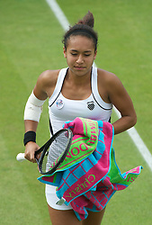 22.06.2011, Wimbledon, London, GBR, Wimbledon Tennis Championships, im Bild Heather Watson (GBR), with an injured elbow, in action during the Ladies' Singles 1st Round match on day three of the Wimbledon Lawn Tennis Championships at the All England Lawn Tennis and Croquet Club, EXPA Pictures © 2011, PhotoCredit: EXPA/ Propaganda/ *** ATTENTION *** UK OUT!