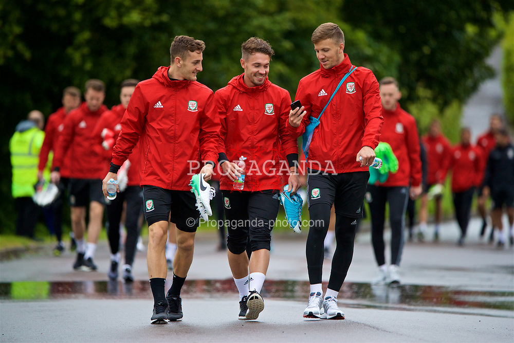 CARDIFF, WALES - Thursday, June 8, 2017: Wales' Tom Lockyer, Tom Bradshaw and Lee Evans during a training session at the Vale Resort ahead of the 2018 FIFA World Cup Qualifying Group D match against Serbia. (Pic by David Rawcliffe/Propaganda)