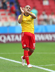 June 23, 2018 - Moscou, Rússia - MOSCOU, MO - 23.06.2018: BÉLGICA Y TÚNEZ - Wahbi KHAZRI of Tunisia thanks the fans after the match between Belgium and Tunisia valid for the 2018 World Cup held at the Otkrytie Arena (Spartak) in Moscow, Russia. (Credit Image: © Rodolfo Buhrer/Fotoarena via ZUMA Press)