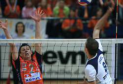 Matija Plesko of ACH vs Igor Orel at last final volleyball match of 1.DOL Radenska Classic between OK ACH Volley and Salonit Anhovo, on April 21, 2009, in Arena SGS Radovljica, Slovenia. ACH Volley won the match 3:0 and became Slovenian Champion. (Photo by Vid Ponikvar / Sportida)