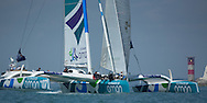 The Artemis Challenge at Aberdeen Asset Management Cowes Week 2014. <br /> Oman Sail - MOD70 trimaran skippered by Damian Foxall (IRL)<br /> FREE for editorial use. Credit: Lloyd Images