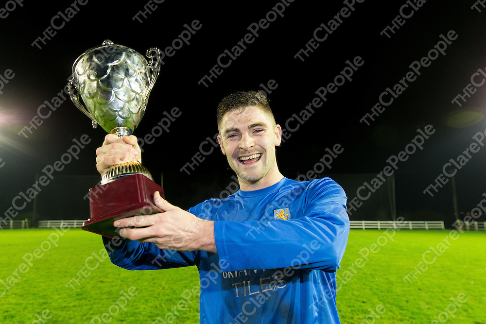 Turnpike Rovers's Captain David McMahon with the Cup