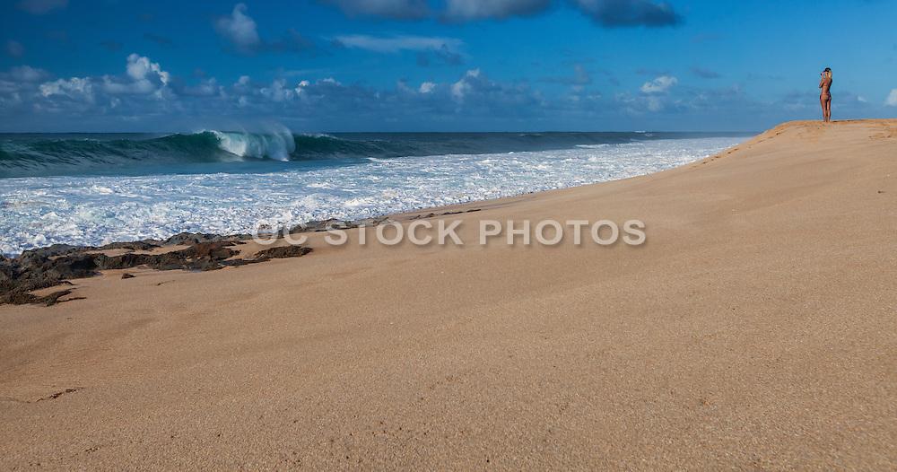 Tan Blonde Girl on the Beach
