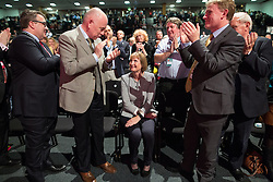 © Licensed to London News Pictures . 27/09/2015 . Brighton , UK . The audience applauds HARRIET HARMAN (sitting c) after a tribute to her record as Deputy Leader , at the 2015 Labour Party Conference . Photo credit : Joel Goodman/LNP