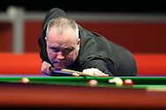 John Higgins of Scotland in action during his 1st round match against Sam Baird of England . Coral Welsh Open Snooker 2017, day 1 at the Motorpoint Arena in Cardiff, South Wales on Monday 13th February 2017.<br /> pic by Andrew Orchard, Andrew Orchard sports photography.