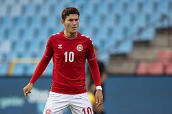 Jonas Wind (Danmark) under U21 EM2021 Kvalifikationskampen mellem Danmark og Ukraine den 4. september 2020 på Aalborg Stadion (Foto: Claus Birch).