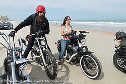 Jim Root from the Band Slipknot on a Blings Cycles  on the beach during Daytona Bike Week 75th Anniversary event. FL, USA. Thursday March 3, 2016.  Photography ©2016 Michael Lichter